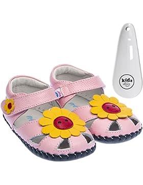 FREYCOO - Zapatos primeros pasos de Piel para niña Rosa rosa