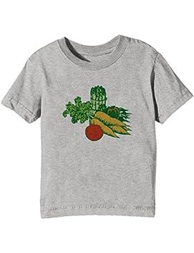 Vegetales Niños Unisexo Niño Niña Camiseta Cuello Redondo Gris Manga Corta Todos Los Tamaños Kids Unisex Boys...