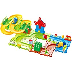 Saffire Happy Valley 08 Train Set with Windmill, Upper and Lower Level Track, Multi Color