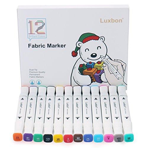 Luxbon 12er Set Doppelspitze Textilmarker Textilstifte Stoffmalstifte T-Shirt Marker Wasserfest Kinder-sicher (Raum Party Supplies)