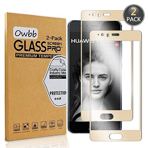 [2 Pezzi] Owbb® Gold Vetro Temperato Pellicola Per Huawei P10 Plus Full Coverage Protettiva Protezione 9H Durezza 99% Alta Trasparente