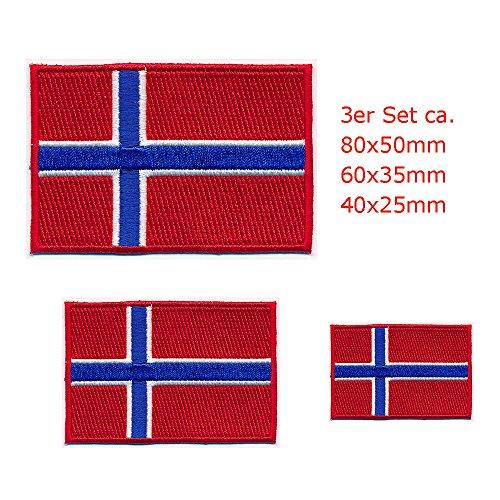 3 Königreich Norwegen Flaggen Oslo Norway Flags Patch Aufnäher Aufbügler 0649