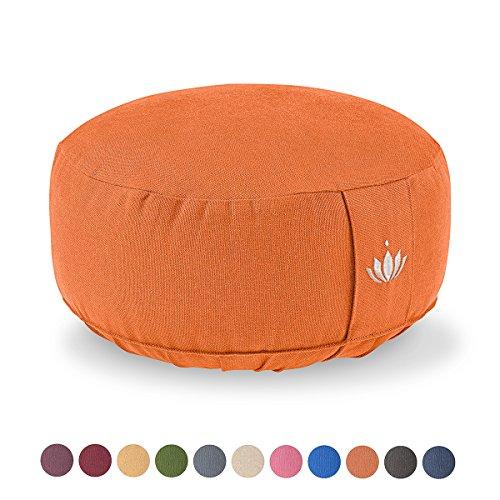 Lotuscrafts Meditationskissen / Yogakissen LOTUS - Bezug: Baumwolle (kbA) - GOTS zertifiziert – Mit Bestickung