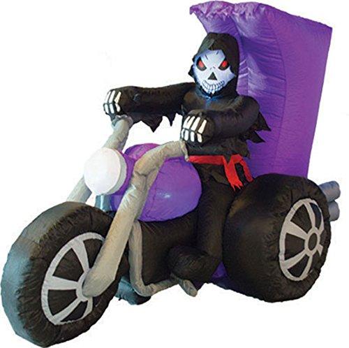 Dildoridoo - Halloween Dekoration aufblasbare Deko Skelett- Motorrad Party, 1 Stück, 220cm, Mehrfarbig (Aufblasbare Blutigen Messer)