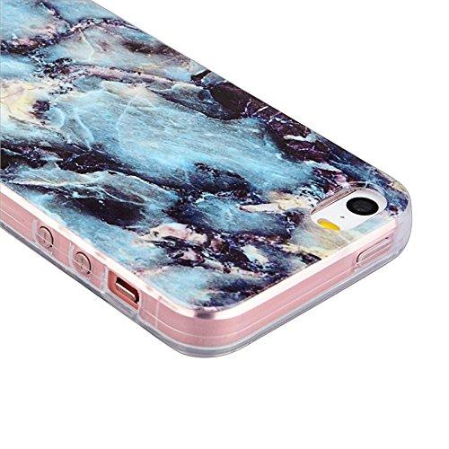iPhone 5 / 5S / SE Coque, Yokata Gradient Couleur Marbre Gemme Design Case Housse Étui Flexible Soft Doux TPU Silicone Backcover Ultra Mince Hybrid Coque + 1*Stylet - Pourpre Bleu