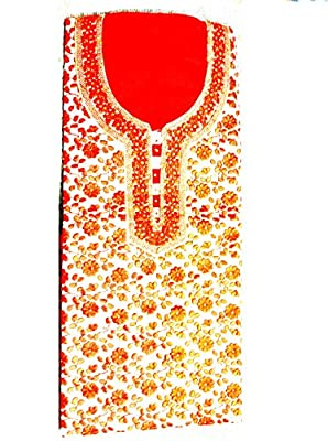 Women's Cotton Salwar Suit Dress Material - Orange + Orange Thread Roll + Sewing Pin