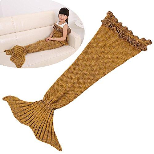 Likeep Kinder Meerjungfrau Decke Mit Lotus-Spitze Gestrickte Meerjungfrauschwanz - Decke Kuschelige Flauschedecke Spezielle Blanket Quilt auf Sofa ,im Auto ,oder im Schlafzimmer, 140cm x 70cm (LxB) (Gelb)