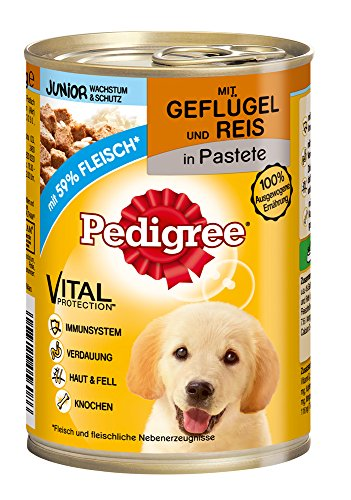 Pedigree Junior Hundefutter Geflügel und Reis in Pastete, 400 g