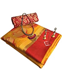 Indian Beauty Banarsi Heavy Cotton Silk Gold & Red Saree With Matching Blouse Pc & Pendant (latakan) With Exclusive...