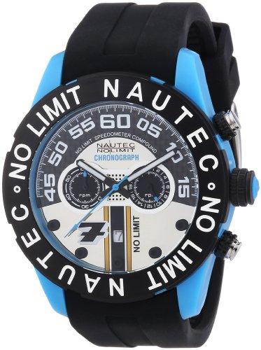 Nautec No Limit Zero-Yon 2 ZY2-7 QZ/RBPCBKBK-BL - Reloj cronógrafo de cuarzo para hombre, correa de goma color negro (cronómetro)