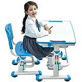 BEST DESK Grows As You Grow Ergonomica Tavolo per Bambini Sedia Basculante scrittorio Alto Regolabile in Altezza dei Bambini scrivania Sedia con cassetto Gratuito Cuscino Animale Carino (Azzurro)