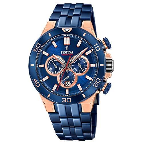 Festina Unisex Erwachsene Chronograph Quarz Uhr mit Edelstahl Armband F20452/1