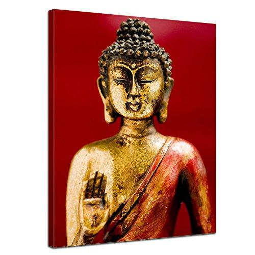 Bilderdepot24 Kunstdruck - Buddha III - Bild auf Leinwand 60 x 80 cm - Leinwandbilder - Bilder als Leinwanddruck - Wandbild Geist & Seele - Buddhismus - Goldene Statue mit Rotem Hintergrund