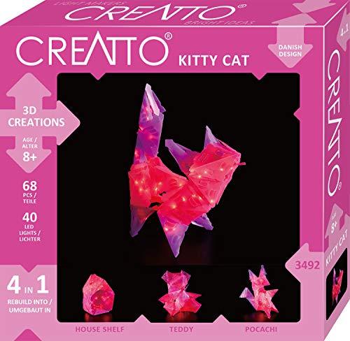 KOSMOS 03492 Creatto Katze, 3D-Leuchtfiguren entwerfen, Bastel Set für \nKatze, Teddy, Hund oder Haus, gestalte deine individuelle Kinderzimmer-Deko, 68 Steckteile, 40-tlg. LED-Lichterkette, ab 8 Jahre