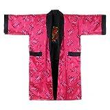 Princess of Asia Japanischer Wende-Kimono Satin Morgenmantel für Damen & Herren mit Drachen-Stickerei Pink