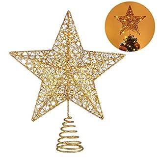 STOBOK Navidad Luces Brillantes Primero del árbol la Punta del árbol Estrella Dorada luz de la Estrella decoración de Copas de los árboles para la decoración de árboles de Navidad en casa