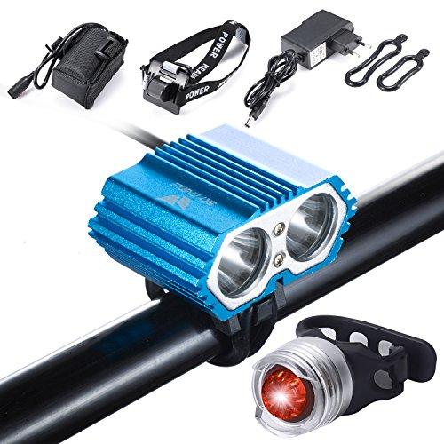Strobe-ring-licht (SUNINESS Fahrradlicht, LED Wasserdichtes LED-Fahrradlicht, 5000 Lumen XML U2 + Batteriesatz + Ladegerät 4 Modi LED-Frontlicht für Fahrradlenker mit Fahrradrücklicht (Blau-3LED))