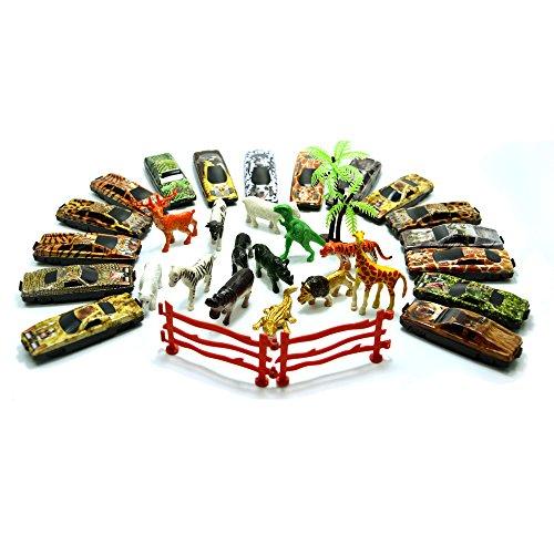 (BigNoseDeer 31 Stück Fahrzeuge Wald Rennwagen mit platstic Tier Kinder Spielzeug spielen)