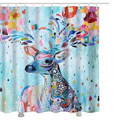 Duschvorhang, Anti-Schimmel Wasserdicht Badezimmer Vorhänge Modern Kunst Cartain für Haus Deko mit 12 Kunststoffringen zum Aufhängen (180 x 180 cm, Hirsch) -