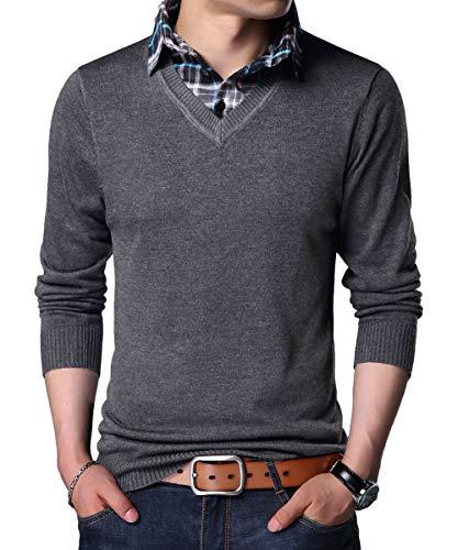 YinQ Lange Ärmel Strickpullover Feinstrick Pullover Mit V-Ausschnitt Herren Strickjacke Cardigan mit Hemdkragen (X-Large, Charcoal)