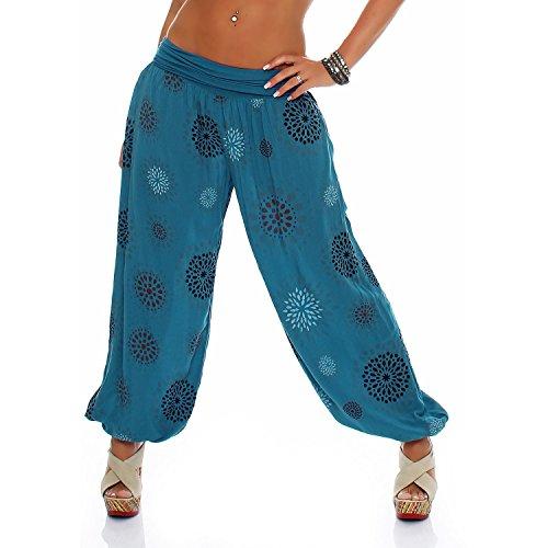 ZARMEXX Damen Pumphose Pluderhose Harem-Stil Sommerhose all over Print Freizeithose Aladinhose Hose One Size (Einheitsgröße: Gr. 36-42, petrol)