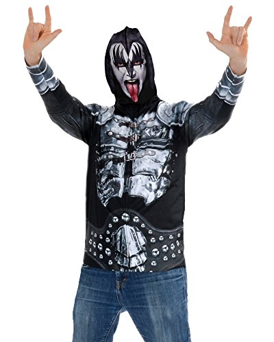 Männer Kostüm Kiss - FauxReal Herren Kiss-The Demon Full Zip Up Mask Hoodie Kapuzenpulli, XX-Large