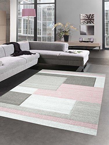 Moderner Teppich Kurzflor Wohnzimmerteppich Konturenschnitt Karo abstrakt pastell rosa braun taupe Größe 120x170 cm