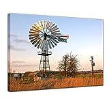 Kunstdruck - Windrad - Bild auf Leinwand - 80 x 60 cm - Leinwandbilder - Bilder als Leinwanddruck - Landschaften - USA - Texasrad - amerikanisches Windrad