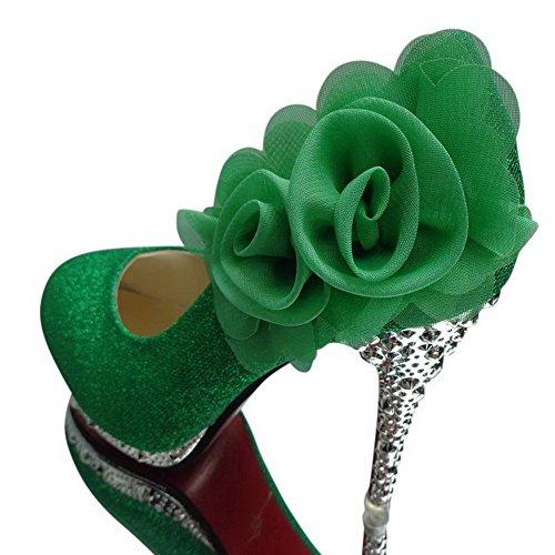 AgooLar Donna Tacco Alto Punta Tonda Ballerine con Composizione Di Fiori Verde(2 FF)