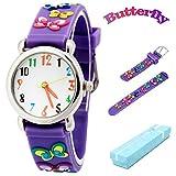 Kinderuhr Vinmori, Wasserdichte Quarzuhr mit süßer 3D-Karikatur, Geschenk für Kinder,Jungen und Mädchen Schmetterling-Lila
