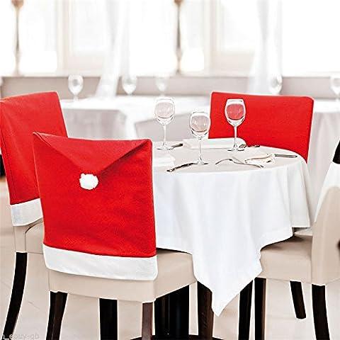 Superior ZRL sombrero de Santa sombrero cubre, juego de 4 PCS Santa Claus Red Hat Silla trasera cubre silla de cocina cubre conjuntos de vacaciones de Navidad decoraci¨®n