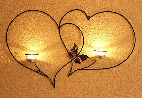 DanDiBo Doppelherz Wandteelichthalter Herz 65 cm Teelichthalter aus Metall Wandleuchter