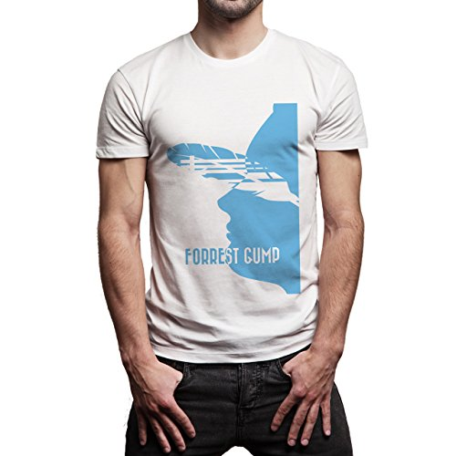 Forrest Gump Movie Official Blue And White Edition Face Background Herren T-Shirt Weiß