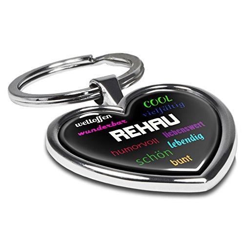 Preisvergleich Produktbild Schlüsselanhänger mit Stadtnamen Rehau - Motiv Positive Eigenschaften - Herz-Schlüsselanhänger, Stadtschlüsselanhänger, personalisierter Anhänger, Herz-Anhänger, Chrom