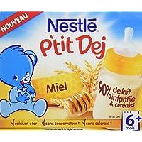 Nestlé Bébé P'tit Dej Miel - Brique Lait & Céréales dès 6 Mois - 2 Briques de 250ml - Lot de 6