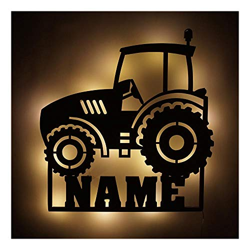 Möbel Deko Licht Trekker Traktor-Lampe mit Name-n für Männer Mann Kind-er Junge-n Jungs ab 0 1 2 3 4 5 6 7 8 9 Monate Jahre Jähriges Kinderzimmer (Traktor V4)