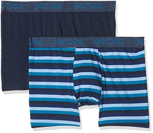 Hom Herren Boxershorts Elvis #2 Long Boxer Briefs, 2er Pack, Mehrfarbig (Rayure Bleu Marine Et Canard + Marine Chiné), Small (Elvis Unterwäsche)