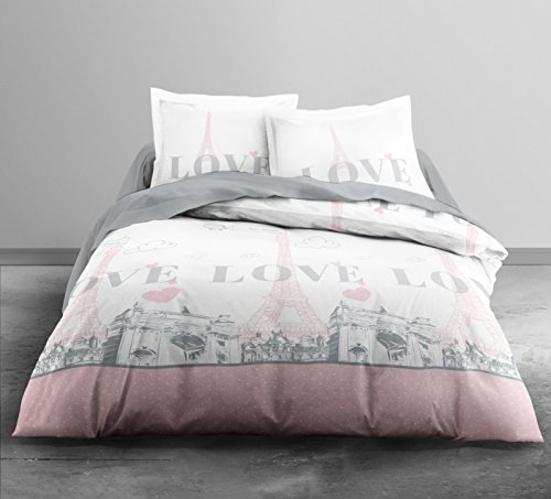 Today 013028 Paris my Love Parure de lit avec Housse de couette/2 Taies d'oreiller Coton Blanc/Rose 220 x 240 cm