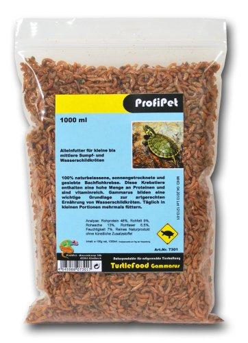 ProfiPet Wasserschildkrötenfutter TurtleFood Gammarus 1000ml, Wasserschildkröten Futter 100% naturbelassen...