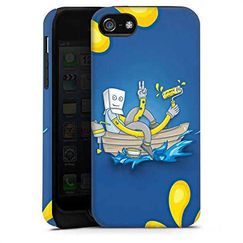 Apple iPhone 5s Housse Étui Protection Coque Bateau Eau Water Cas Tough terne