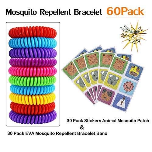 dream-cool 30er Pack Eva-Mückenschutz-Armband mit 30er-Pack-Aufklebern Tier-Mückenschutz, natürliche wasserdichte Abwehrbänder Sicherheitsschutz für Kinder im Innen- und Außenbereich