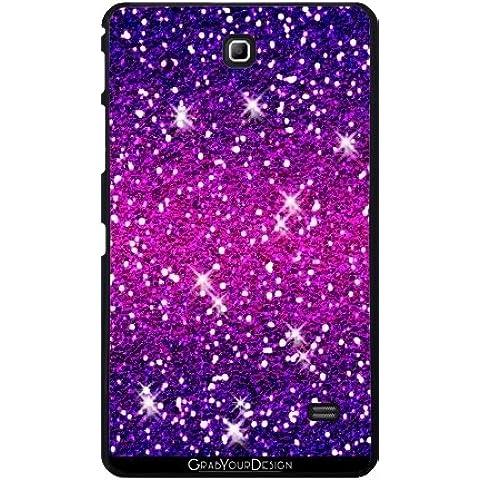 'grabyourdesign, colore: viola con brillantini, colore: rosa di tees2go Custodia per Samsung Galaxy Tab 4 7,0, colore: nero