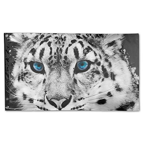 Eve Leopard (Schwarz und Weiß Snow Leopard Cheetah Home Garten Flaggen Polyester Flagge Fahne Deko Indoor-/Outdoor Wall Banner Garten Flagge 3x 5Fuß)