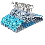 HOMFA 40er Kleiderbügel mit Anti-Rutsch Gummierung für Kleidung Anzug Jacke Krawatte dünn Himmelblau (40er Himmelblau)