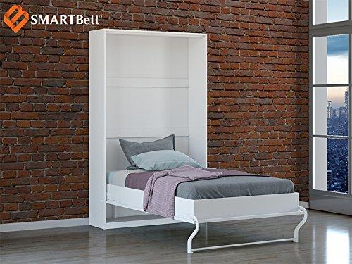 Smartbett Schrankbett Hochkantbett Murphy Bed Foldaway bed 120 x200cm Vertikal in der Farbe Weiß mit Hochglanzfront - 2