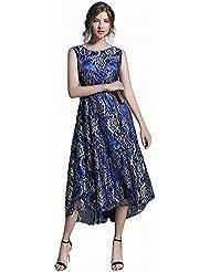 Femme Slim Robe Sans Manches Longue Et Élégante Et Élégante Robe Bleue
