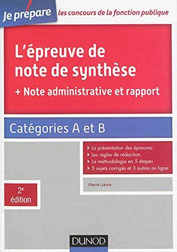L'épreuve de note de synthèse - Catégories A et B