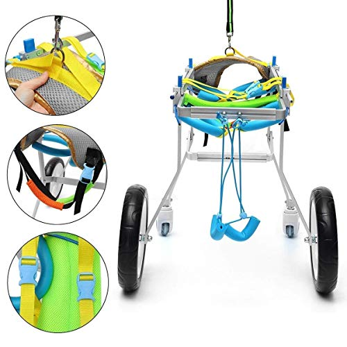 ZGONGLQQ Pet Hind Limb Wheelchair, Verstellbarer Rollstuhl für Haustiere, 4-Rad-Bedienung, Extremitätenschutz, für eine Vielzahl von Haustieren geeignet (1-50 kg) XXS-M (Größe: XS)