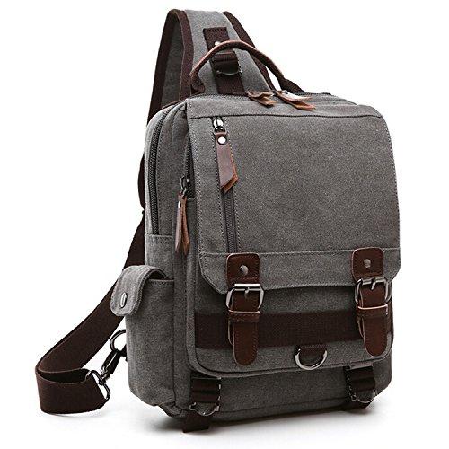 Outreo Borsa Tracolla Borse Petto Sacchetto Spalla Tela Zaino Vintage Messenger Bag per Laptop Scuola Borsello Uomo Borsetta Donna Sport Tasca Grigio