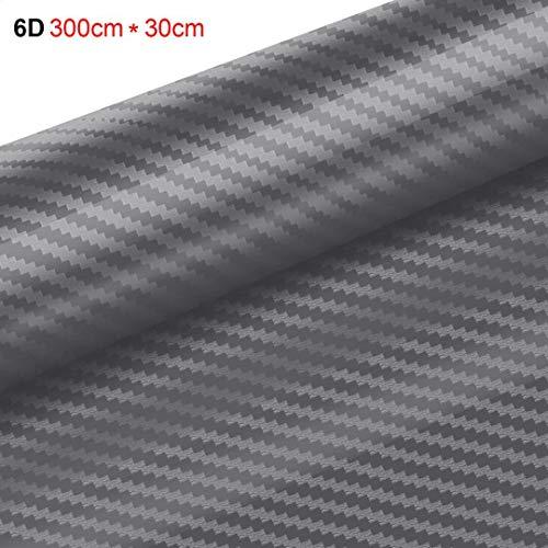 Yilyln pellicola adesiva carbonio, pellicola adesiva per auto 6d - fibra di carbonio adesiva 300cm*30cm (grigio)